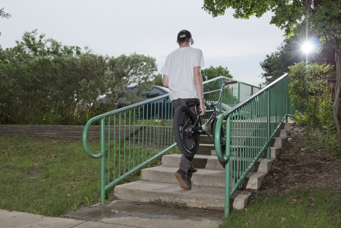 Bike Check wednesday with cody anderson walking up stairs
